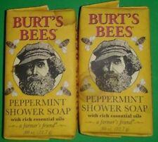 (LOT OF 2) BURT'S BEES PEPPERMINT SHOWER SOAP .80 0z./22.7g ~ Travel Size Bar