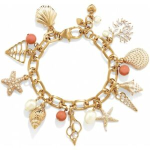 NWT Brighton CORAL FANTASY Gold Shell Starfish Coral Pearl Bracelet MSRP $98