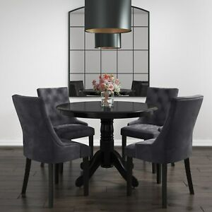 Small Round Dining Table in Black with 4 Velvet Chairs in Gr BUN/RHD010_BK/70495