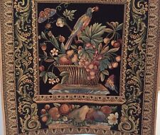 The Jay Belgian Bird & Floral Decor Still Life Woven Tapestry Wall Hanging 52x46