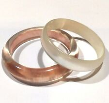 Art Deco Lucite Bangle Duo Pink and Pearl