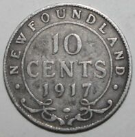 Newfoundland 10 Cents Coin 1917 C KM# 14 Canada Silver .925 King George V Ten