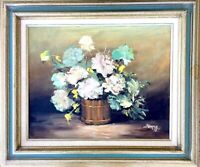 Vintage Framed Original Pallette Knife Oil Painting - Floral Still Life, Signed