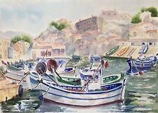 Grande aquarelle Provence Marseille port bateau bateaux signée M. Cobourg