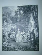 Planche gravure Fêtes Vénitiennes d'après le tableau de Watteau