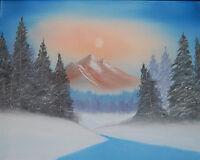 "Original Oil Painting ""SUNSET MOUNTAIN"" Canvas 20"" x 16"" (Picasso/Landscape)"