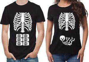 Halloween daddy to be Mummy to be pregnancy reveal black T-Shirts set