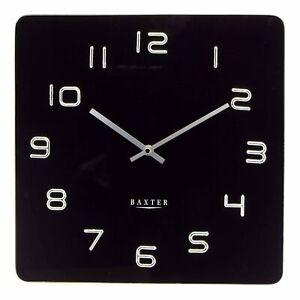 NEW Baxter Square Glass Wall Clock, Black, 35cm