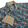 Thomas Dean Mens XL Long Sleeve Button Front Shirt Blue Camoflauge Flip Cuff