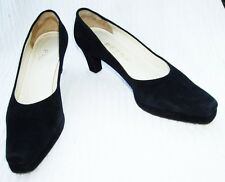 PETRA Classic Black Suede Platform Heels Shoes 7 Medium~Florence Italy