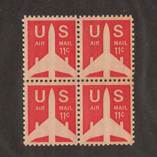 SCOTT # C 78 Air Mail Jet Airliner United States U.S. Stamps MNH - Block of  4