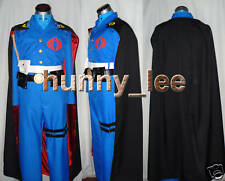 Cobra Commander Cosplay Costume + Black Cape + Buckle Custom-Made