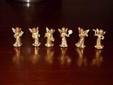 VTG SET OF 6 GOLD CHRISTMAS ANGEL FIGURINES HONG KONG NOS MIB MCM