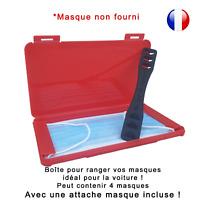 Boîte de rangement rouge et attache noire pour masque