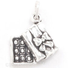 3D BOX of CHOCOLATES BOW gift Charm Pendant Solid 925 STERLING SILVER Candy