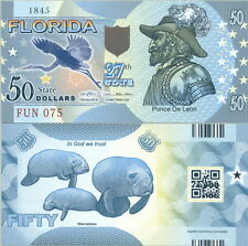 AWESOME FLORIDA STATE POLYMER FANTASY ART BILL PONCE DE LEON MANATEES FUN NOTE!