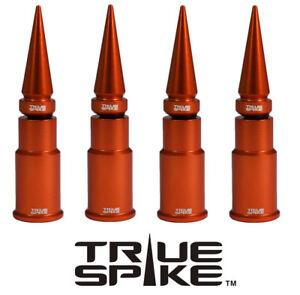 4 TRUE SPIKE ORANGE ALUMINUM SPIKED WHEEL RIM AIR VALVE STEM COVER CAP SET KIT
