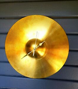 """Upcycled Drum Cymbal Clock 14"""""""