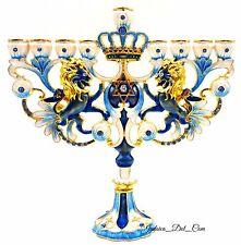 Blue Enamel Hanukkah Menorah with Star Of David Crystals Israel Art Judaica Gift