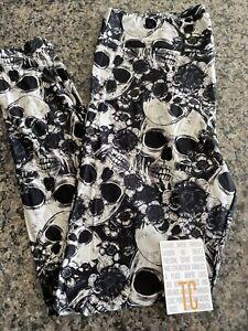 Lularoe TC Gray Skulls Flowers Halloween NWT Leggings