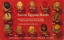 Advertisement Postcard Ancient Egyptian Scarabs Ring Aladdin House NY~123343