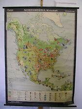 Schulwandkarte Wandkarte Karte Rollkarte Nordamerika Wirtschaft ~1960 99x136 map
