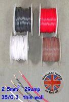 Pared delgada cable 2.5mm², (13AWG) 29amp, Auto, Marino, Bajo Voltaje, TW2.5