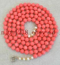 Coral Round Gemstone + Pearl Necklace Aaa Long 36 Inch South Sea 8mm Pink