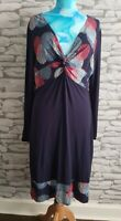 Joe Browns Navy floral wrap V-neck Midi Stretchy Dress Size 16 uk