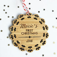 PERSONALISED GIRL BABY'S FIRST CHRISTMAS BAMBOO CHRISTMAS ORNAMENTS DECORATION