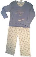 Blue & Cream Pyjama Set Size 18 - 20 Cotton Blend Long PJs with Coffee Cup Logo