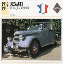 1939-1940 RENAULT PRIMAQUATRE SPORT Classic Car Photograph / Info Maxi Card