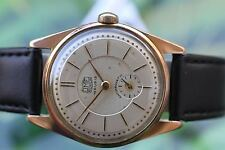 VINTAGE MEN'S BIG THICKLY GOLD-PLATED GERMAN MECHANICAL RUHLA WATCH 15 JEWELS!