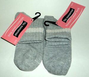 2 Pr NO NONSENSE Metallic Tip Sock HEATHER GRAY Casual Socks NWT Women