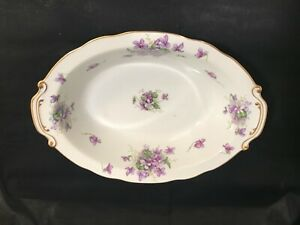 """Rossetti Spring Violets Occupied Japan 11"""" Oval Vegetable Bowl Hand Painted"""