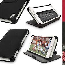 Nero Ecopelle Flip Custodia Cover per Sony Xperia Z3 D6603 6633 Stand Case Folio