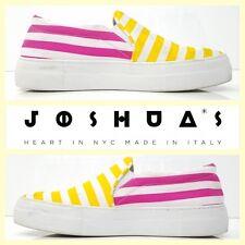 Joshua Sanders $169 striped yellow/pink canvas slip-on fashion sneakers~37