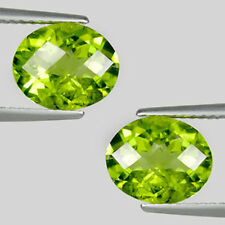 6.00 ct  LUSTROUS BEST GREEN 100%  NATURAL PERIDOT OVAL CHECKER CUT Pair  2537