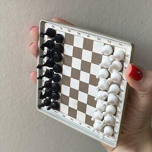 Ussr Chess Set Road Travel Rare Vintage Soviet Pocket Plastic Magnetic