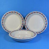 Dansk Bistro KRONBORG Soup Bowls Set of 3 Bowl Made in Japan Blue Rust Berries