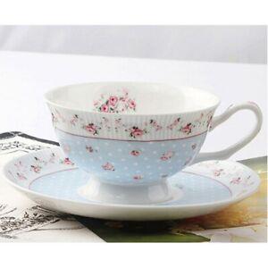 LeBlue Bone China Coffee Cup Tea Cup & Saucer - Rose Polka Secret - 1 Set