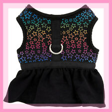 Top Paw Metallic Multi Colored Ombre Stars on Black Dog Vest Harness Dress XXS