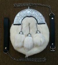 Original White Rabbit Fur Scottish Kilt Sporran, Free Leather & Metal Belt
