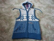ANIMAL cream & turquoise/blue knitted & hooded gilet Size 10 USED GOOD CONDITION