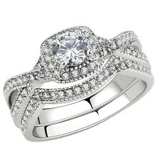 Set Halo Round Cut Cubic Zirconia Stainless Steel Women's Infinity Wedding Ring