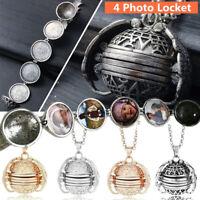 HOT Hollow Expanding 4 Photo Locket Ball Pendant Necklace Memorial Gift Li