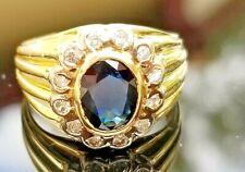 Vintage Dark Blue Sapphire Diamond 14k yellow gold ring/band