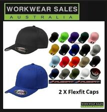 2 x Flexfit Perma Curve Cap / Hat. Full Range Mens Womens Unisex 6277 Fitted.