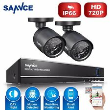 SANNCE 2x 720P 1500TVL Security Camera 4CH DVR Home Surveillance Kit Remote HDMI