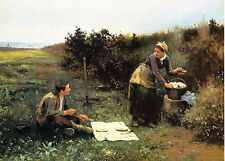 Oil painting daniel ridgway knight - the honeymoon breakfast couple in landscape